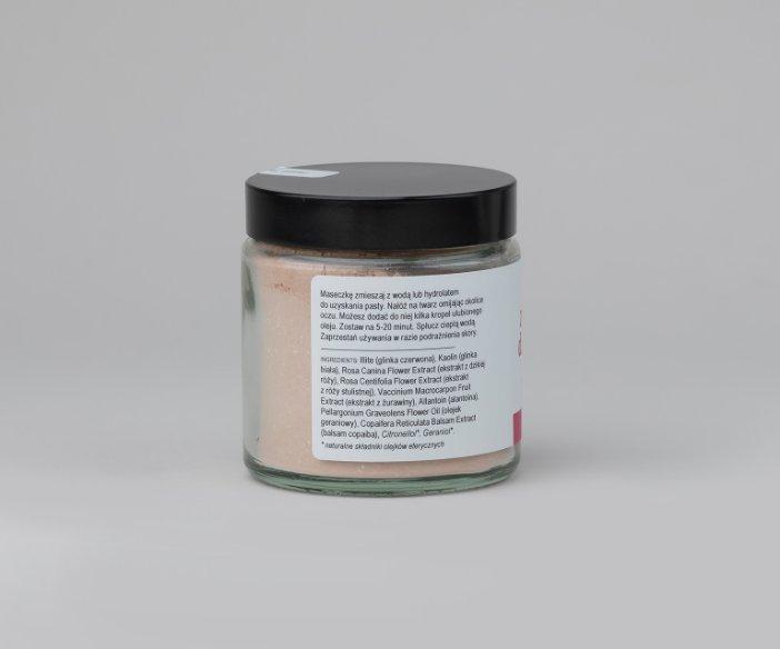 Iossi - Lekko ściągająca i rozświetlająca maseczka do twarzy z czerwoną glinką do cery wrażliwej, naczynkowej i problematycznej