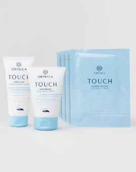 Orphica - Trzy silnie regenerujące produkty z linii TOUCH: peeling do rąk + krem do rąk + zestaw 4 szt. nawilżających rękawiczek
