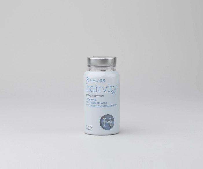 Halier - Szampon i odżywka do włosów dla kobiet o działaniu wzmacniającym + nutrikosmetyk Hairvity + serum wzmacniające do włosów gratis