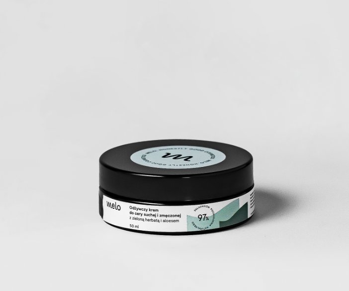 Melo - Kojąco-relaksujący, naturalny krem do twarzy z aloesem i zieloną herbatą