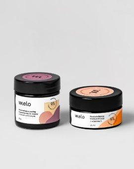 Melo - Peeling do twarzy i krem pod oczy marki Melo w zestawie